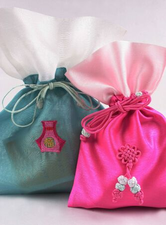 korea: Pretty pink and green Asian bags