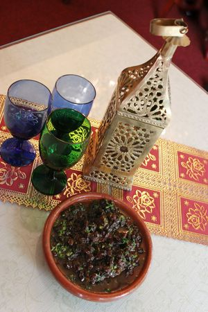 middle eastern food: Middle Eastern food and glasses