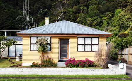 a small house: Exterior of a typical small town house in rural New Zealand.