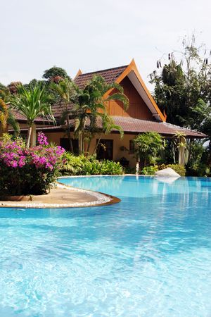 spa resort: Tropical spa resort with a swimming pool in Phuket, Thailand - travel and tourism. Stock Photo