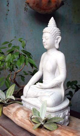 stone buddha: White stone Buddha image - travel and tourism.