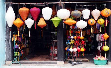 vietnam: Traditional silk lanterns from Vietnam - travel and tourism.