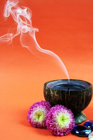 Spa and beauty products including a smoking candle. Stock Photo - 2901432