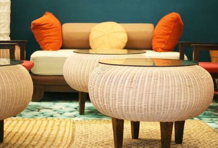 cane sofa: Interior of a modern house - home interiors. Stock Photo