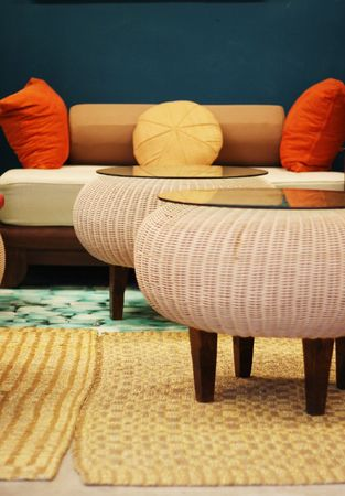 cane sofa: Asian style furniture in a modern home. Stock Photo
