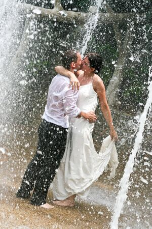 Bride and groom celebrating their wedding day. photo