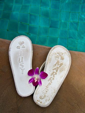 Just married jandals Stock Photo - 3613393