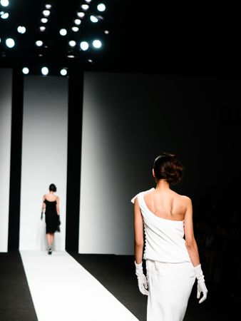 Models on the catwalk during a fashion show. Stock Photo - 3768872