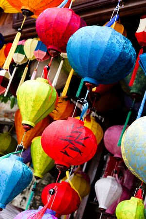 Traditionelle Seide Laternen aus Vietnam.