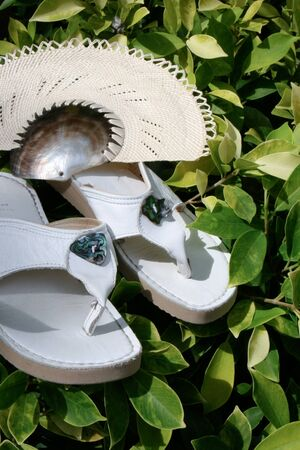 sandels: White summer sandels and a shell fan. Stock Photo