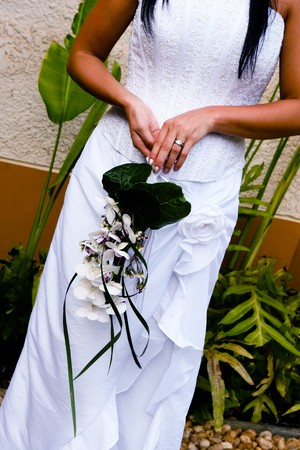 Bride holding her wedding bouquet.