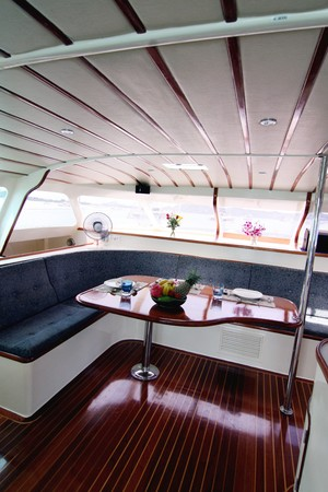 Interior of a luxury yacht. photo