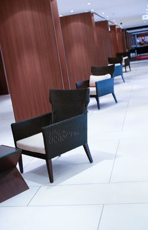 line lines luxury meeting: Interior of the lobby of a modern hotel.