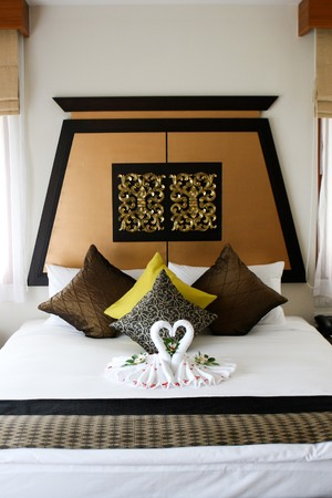 Interior of a honeymoon suite in Thailand.
