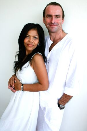 Portrait of an attractive multicultural couple. photo