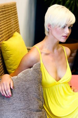 Portrait of a beautiful blond woman.