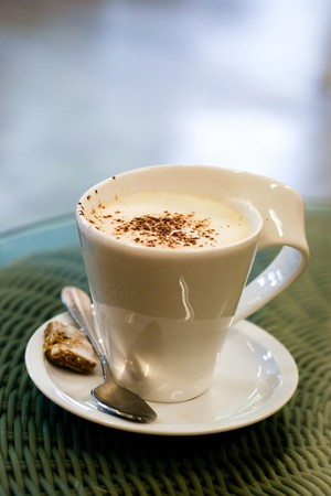 cuisine entertainment: Cup of latte coffee. Stock Photo