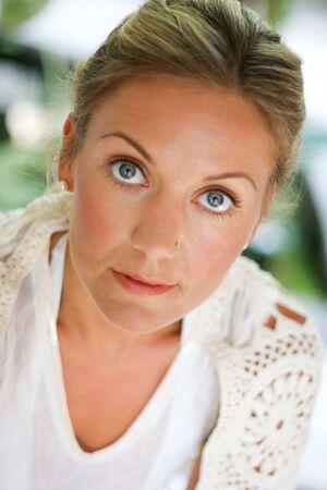 Close-up portrait of a beautiful blond woman.