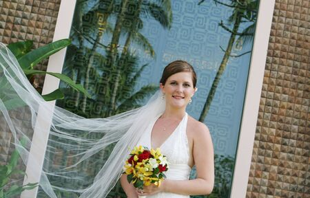 Portrait of a beautiful bride with a flowing white veil.
