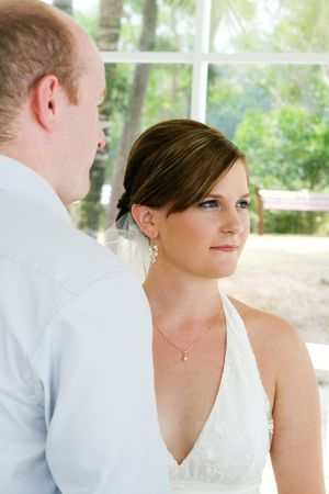 Bride and groom during their wedding day ceremony. Stock Photo - 4445833