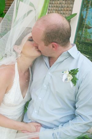 Gorgeous bride and groom on their wedding day.