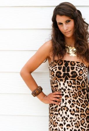 Fashion portrait of a beautiful brunette in a sexy leopard print dress.