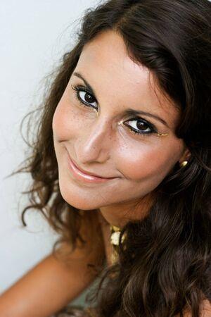 Close-up portrait of a beautiful brunette woman.