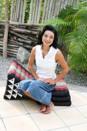 Fashion portrait of a beautiful Japanese woman. photo