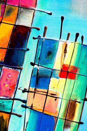 Close-up einer farbenfrohen abstrakten Malerei. Lizenzfreie Bilder