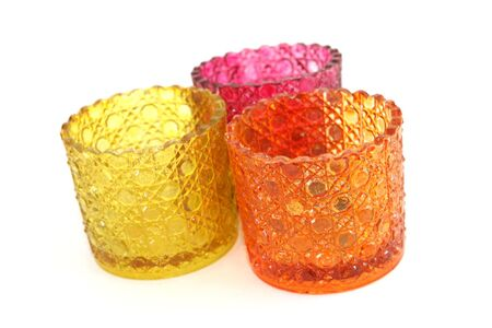 Glass candle holders. Stock Photo
