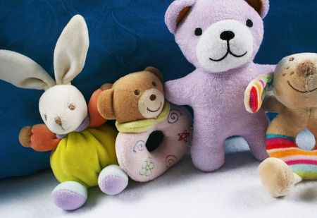 Group of cute baby toys and rattles.