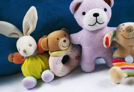 Gruppe der niedlichen Baby Spielzeug und Rasseln.