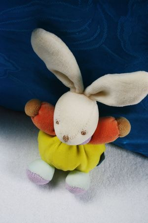 Cute stuffed rabbit toy on a baby blanket. Stock Photo - 4688856