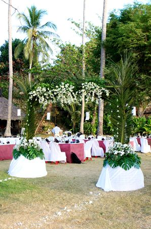 lawn party: Romantic outdoors wedding reception.
