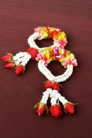 Beautiful garlands of tropical flowers for a wedding. photo