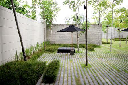 Modern zen garden area - theme urban nature. Stock Photo