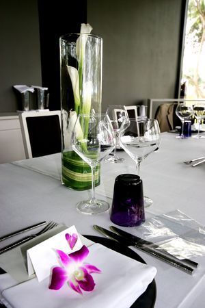 homeware: Formal table setting at a wedding reception.