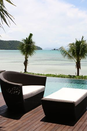 View of the ocean from a tropical resort spa.