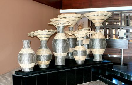Large Asian vases on display in a hotel lobby. Stock Photo - 5326085