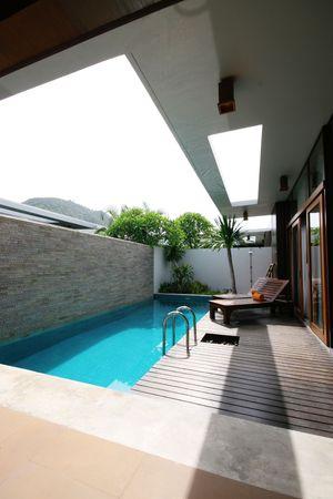 Luxury swimming pool at a beautiful villa home.