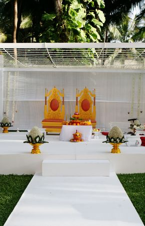 Luxurious setting at a traditional Indian wedding.