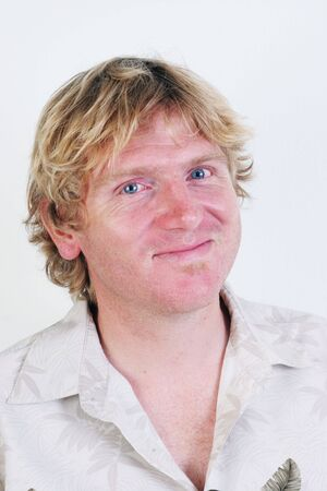 Portrait of a happy blond man isolated. 스톡 콘텐츠