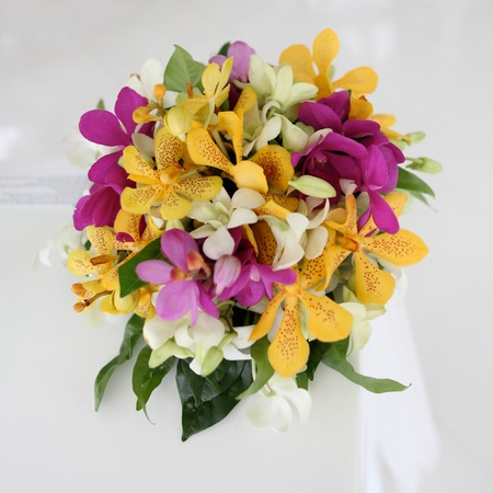 Wedding bouquet made of tropical flowers. photo