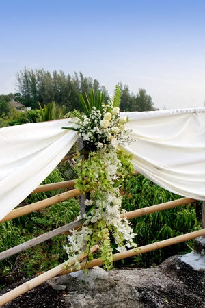 floral arrangements: Beautiful flowers at a Western wedding ceremony.