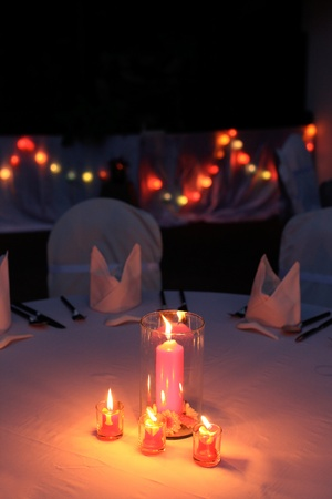 night table: I Love You candles on a table at a wedding reception. Stock Photo