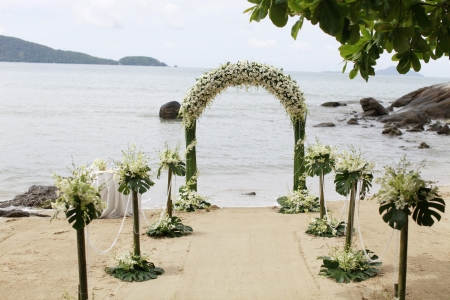 Ceremony set-up for a wedding in beach Thailand. Stock Photo
