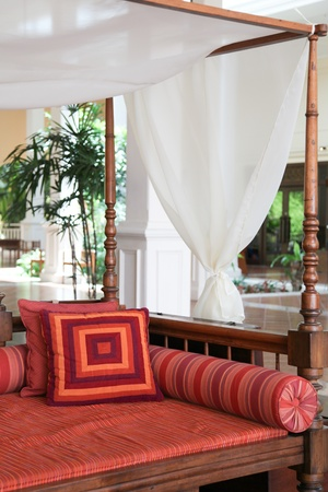 furnishings: Interior of a traditional resort in Thailand - travel and tourism.