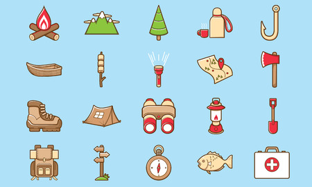 Cute and funny camping outdoor icon