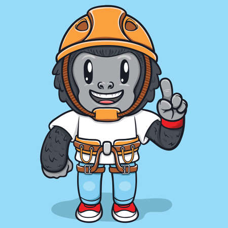 cute monkey wearing adventure kits character illustration
