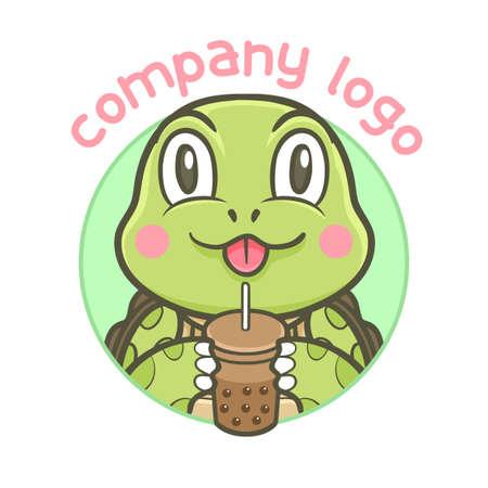 turtle animal drink boba vector illustration